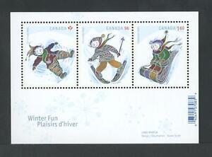CANADA SOUVENIR SHEET 2291 CHRISTMAS, SNOW ANGEL, SKIING & TOBOGGANING
