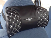 Auto Car Headrest Memory Cotton Black Leather Head Neck Rest Cushion Pillow AC1