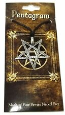 Large Inverted Satanic Pentagram Pentacle Pendant Necklace (with Hebrew script)