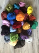Hand Dyed Roving Wool Fiber Felting Yarn Spinning Crafts Mixed Large Lot Of 30