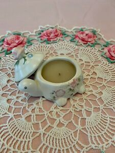 Pfaltzgraff Tea Rose Turtle Candle Holder  Rare