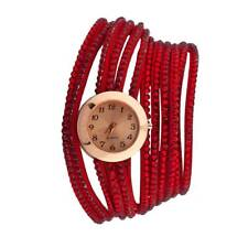 Lux Accessories Red Studded Crystal Pave Wrap Around Bracelet Analog Sports Qua