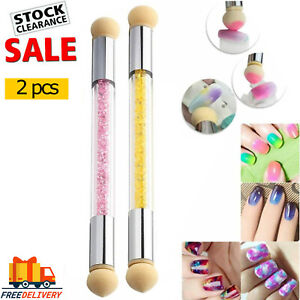2 x Nail Art Sponge Glitter Powder Picking Dotting Gradient Pen Brush 2 Way DIY