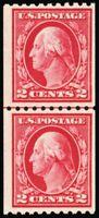 442, Mint 2¢ F/VF NH Coil Line Pair CV $130.00 - Stuart Katz