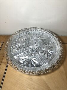 Vintage Lead Crystal Glass Sectioned Lazy Susan Turntable Wheel - Nibbles