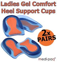 2 x PAIRS Ladies Gel Foot HEEL Cushion Cups Support Spur Orthotic Insoles Feet