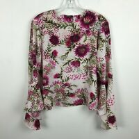 Catherine Malandrino Blouse Size S Floral Trumpet Sleeves Pink Green Womens Top
