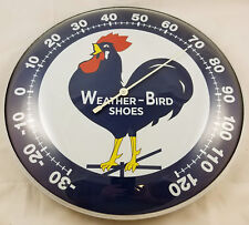 WEATHER BIRD SHOES ROOSTER STANDING ON WEATHER VANE ROUND DOME SHAPE THERMOMETER
