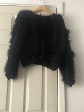 Topshop Crop Black Faux Fur Knitted Jumper UK Size 12