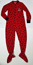 Disney Mickey Mouse 4-6 Footed Pajamas Size Small Red Black Zipper Flannel
