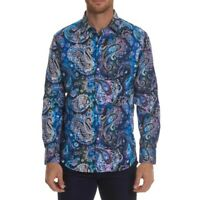 NEW Robert Graham Dry Creek Paisley Long Sleeve Classic Fit Blue Shirt Sz M $198