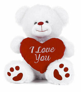"""10.5"""" White Small Teddy Bear I Love You Valentine's Red Heart Soft Plush Toy New"""