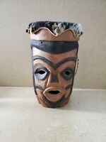 Vintage Wood Carved  Animal Hide Drum Double Sided Faces 16'' T~ 10'' W