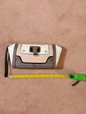 Guess brand handbag, white, grey, pink, wrist strap, clutch style