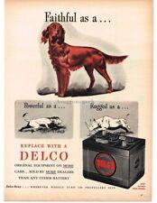 1945 DELCO-REMY Battery Batteries Retriever Dog Lion Rhinoceros art VTG PRINT AD