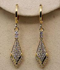 18K Yellow Gold Filled - 1.5'' Rhombus Arrow Topaz Zircon Hoop Women Earrings