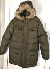 Men's Large Tall Eddie Bauer Premium Goose Down Long Coat Jacket Olive Green
