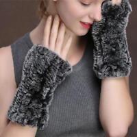 Shaggy Women Real Genuine Knitted Rex Rabbit Fur Fingerless Gloves Mittens Nice