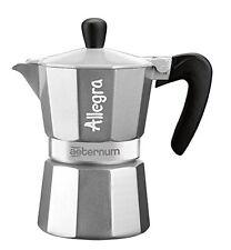 Bialetti Aeternum Espressokocher Allegra 3 Tassen Silber Espresso und Kaffe NEU