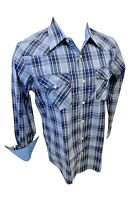 Mens RODEO WESTERN BLUE NAVY PLAID POCKETS Long Sleeve SNAP UP Shirt Cowboy 432