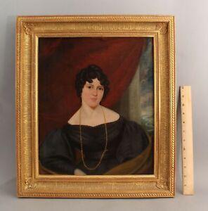 19thC Antique Folk Art Portrait Oil Painting Woman, Colton Hambling Family