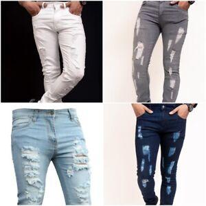 Mens Ripped Skinny Slim fit Grey Black White Stretch Denim  Biker boys Jeans