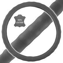 New Premium Genuine Leather Car Truck Gray Steering Wheel Cover - Large Size