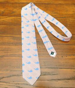Mark Pendleton Tie red white Whale Blue Stripe 100% Silk Designer Necktie