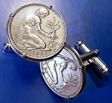 Vintage German Woman Planting Oak Tree Germany Deutschland Coin Cufflinks + Box!