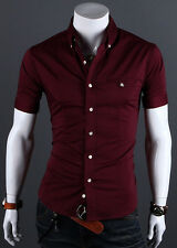 Fashion Men's Slim Fit Short Sleeve Shirt Tops Tee Casual Formal Dress Shirts US