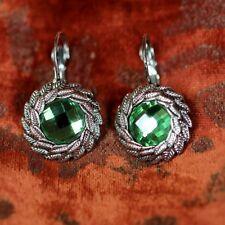 Boucles d'Oreilles Dormeuse Argentée Feuille Vert  Retro Classique Cadeau FF 1