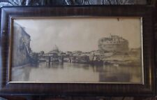 """Antique Rome Print in Chalk on Wood Frame LARGE 33+"""""""