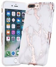 iPhone 7 Case Shiny Gold/White Marble , TPU Soft Rubber Silicone Phone Cover