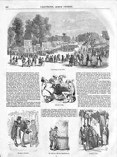 Champs-Elysées Carré Marigny Théatre Guignol Tir à l'Arbalète Paris GRAVURE 1848