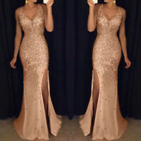 Sequin Prom Party Ball Gown Sexy Gold Evening Bridesmaid Women V Neck Maxi Dress