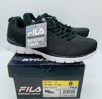 Fila Men's Memory Refractive Athletic Running Shoes - Black / White US 8
