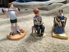 Three Norman Rockwell Bone China Figures- Musclebound, 'Bedtime', 'All The Vets'