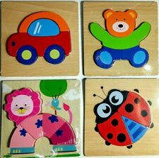 Wooden Jigsaw Puzzle Toddlers Kids Montessori Educational Toys Shape Puzzle 4 Pc