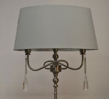 Floor Standard Lamp Satin Silver Jewelled Crystal Grey Shade 3 Lights