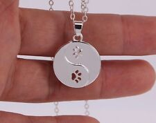 "Silvery 3/4"" DOG CAT PAW Yin Yang Bagua Pendant Necklace 16"" Chain"