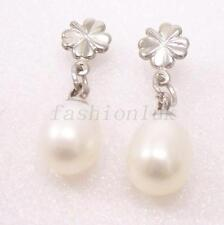 Pear Pearl (Imitation) Silver Plated Costume Earrings