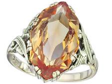 Ring Retro Citrin 585er Gelbgold ca. 1940-50
