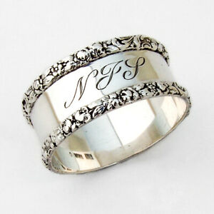 Napkin Ring Gloral and Scroll Borders Sterling Silver Stieff