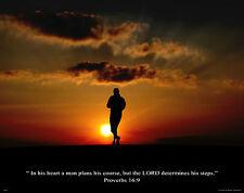 Religious Motivational Poster Art Print Running Jogging Proverbs 16:9  RELG02