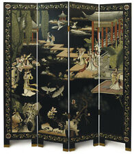 """4 Panel """"Garden"""" Chinese Black Lacquer Screen/Room Divider"""