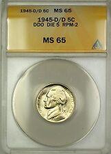 1945-D/D RPM-2 DDO DIE 5 Wartime Silver Jefferson Nickel 5c Coin ANACS MS-65 (G)