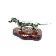 Bronze Brass Figurine Statuette Russian Dachshund Dog Baltic Amber #95