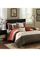 Queen Size Serene Embroidered 7 Piece Comforter Set Madison Park