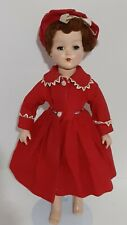 """Vtg Arranbee Nanette Doll 18"""" Walking Head Turns 1950s R&B Co. in Holiday Red"""