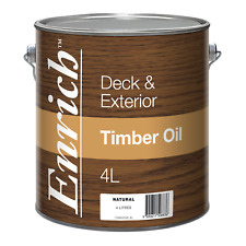 Enrich DECK & EXTERIOR TIMBER OIL 4L Natural Finish, Washes Up In Turps